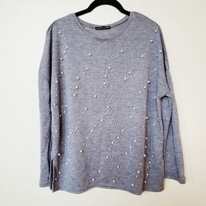 Zara Gray Crewneck Sweater with Pearl Detail